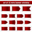 Set Of 15 Dark Red Retro Banner Stitching White