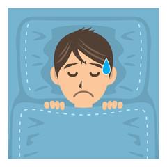 サラリーマン D 病気 不眠症 イラスト