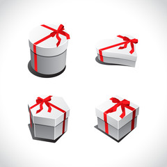 Set of white gift boxes vector