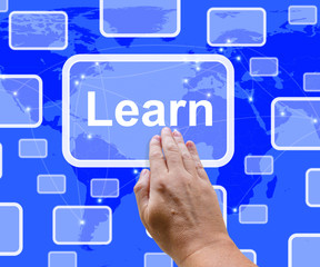 Learn Computer Button On Blue Screen Showing Online Learning And