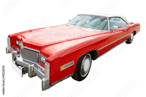 red cadillac car, cabriolet, isolated