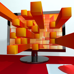 Three Dimensional Orange Squares On Computer Monitor Showing 3d