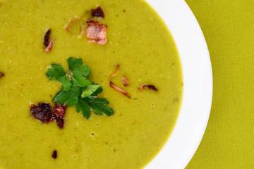 Fresh pea soup.