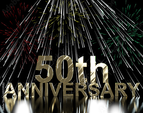 Gold 50th Anniversity With Fireworks For Fiftieth Celebration Or
