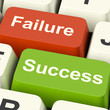 Success And Failure Computer Keys Showing Succeeding Or Failing