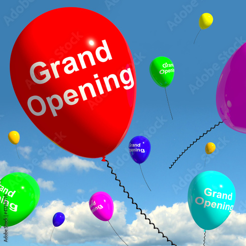 Grand Opening Balloons Showing New Store Launch