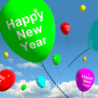 Balloons In The Sky Showing Happy New Year