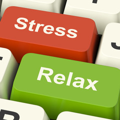Stress Relax Computer Keys Showing Pressure Of Work Or Relaxatio