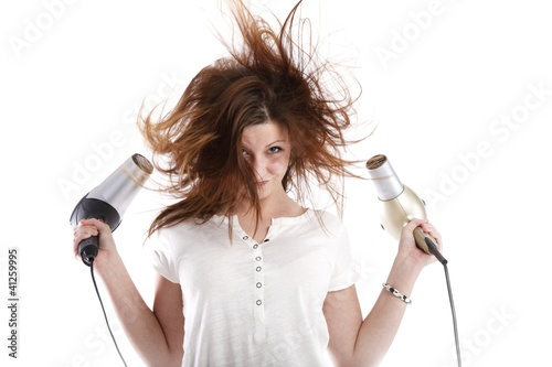 wild woman with two hairdryer (white background))