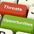 Threats And Opportunities Computer Keys Showing Business Risks O