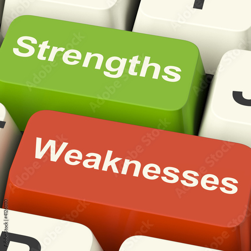 Strengths And Weaknesses Computer Keys Showing Performance Or An