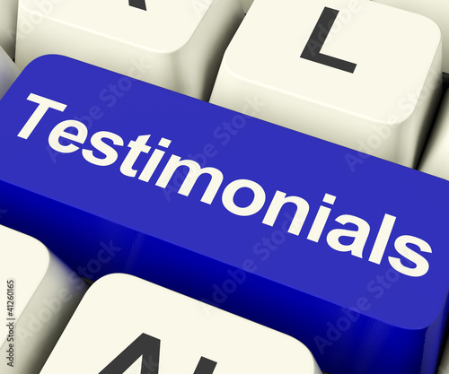 Testimonials Computer Key Showing Recommendations And Tributes O