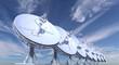 Leinwanddruck Bild - radio telescopes on sky background