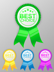 Best choice medal with ribbon. Vector illustration.