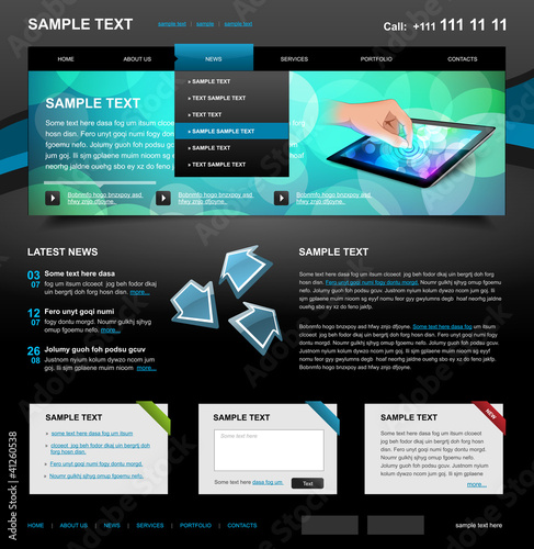Editable Website Template 4. Color variant 5 (Blue on Dark)