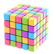 Colorful glossy cube isolated
