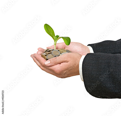 Palms with a seedling growing from pile of coins