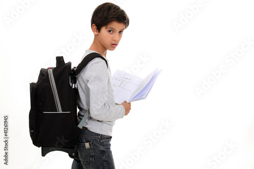 Boy going to school