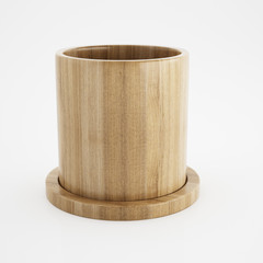 Wood cup of 3d rendering design