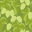 Hop Ornament On Green Grunge Background, Vector Illustration