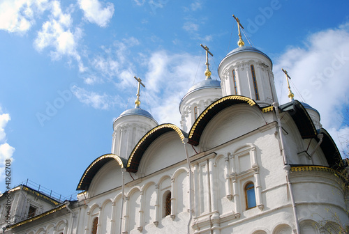 Moscow Kremlin inside, cathedral domes