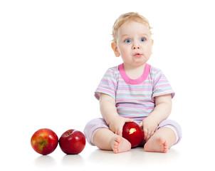kid eating healthy food isolated