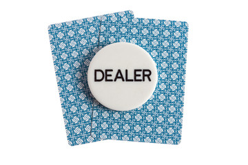 Dealer with casino cards