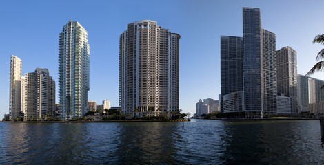 Modern high rises on islands in Downtown Miami