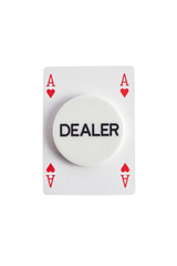 Dealer with ace of hearts over white