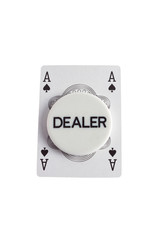 Dealer with ace of spades over white