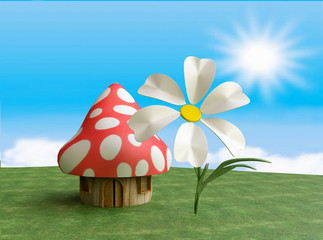 Fairy Mushroom Cottage in 3D