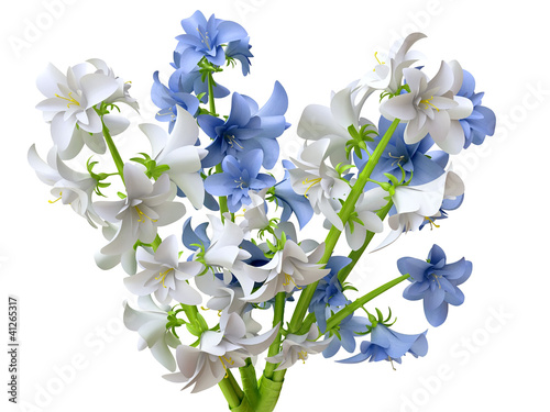 Blue and White Hyacinth Bouquet in 3D
