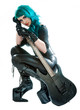 heavy metal woman with electric guitar