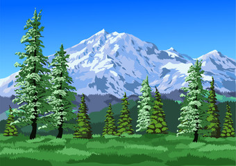 mountains with trees