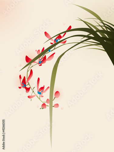 oriental style painting, red orchid flowers