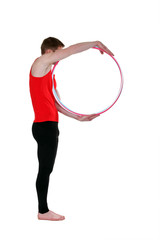 Man with a hula hoop
