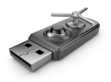 Fototapety Data security concept. USB flash drive with lock. 3D isolated on