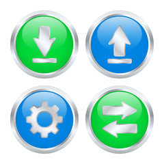 Set of download and upload buttons. Vector illustration
