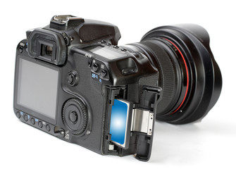 Modern digital camera with memory card.