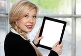 businesswoman holding tablet