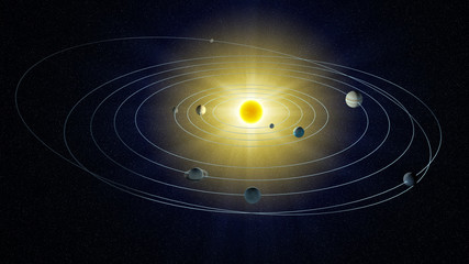 stylized view of the Solar system.