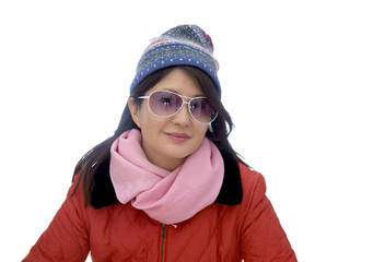 Asian lady in snow wear