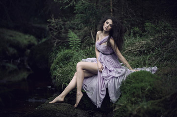 Nice woman in nature scenery