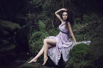Sensual woman in nature scenery