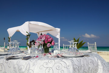 Wedding table on the beach.