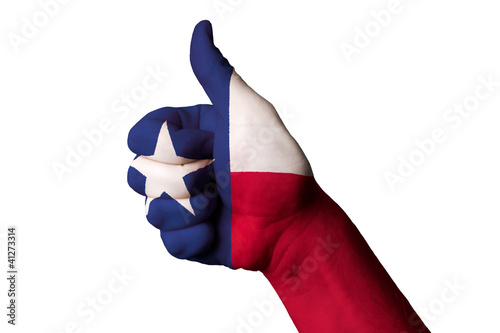 texas us state flag thumb up gesture for excellence and achievem