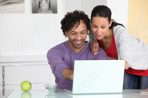 couple having fun on Internet