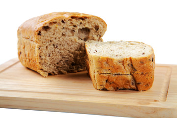 The cut loaf of bread with reflaction isolated