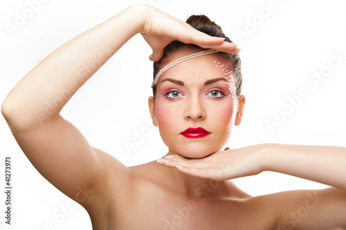 Young brunette lady with makeup isolated on white background