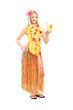Attractive young woman dressed in a hawaiian costume drinking co
